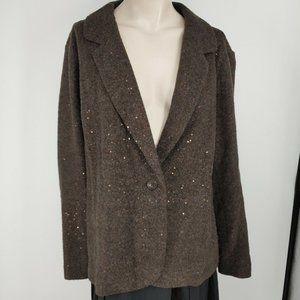 J.Jill jacket size 2X wool blend brown with copper